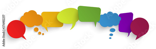sticker speech bubbles with shadow Wallpaper Mural