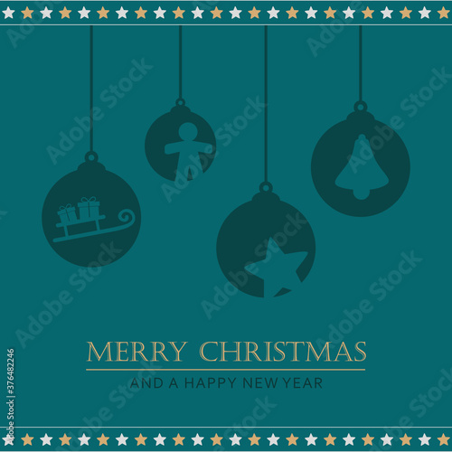 Fotografía christmas greeting card with hanging decoration vector illustration EPS10