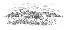 Large Village With Fields En Mountains Background