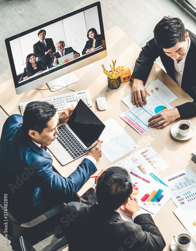 Foto Video call group business people meeting on virtual workplace or remote office