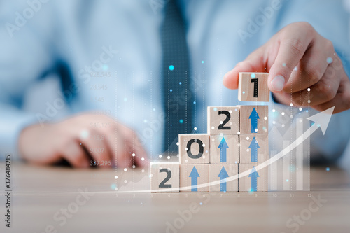 2021 Business development to success and growing growth concept Fotobehang