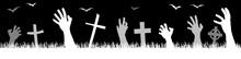 Halloween Zombie Hands With Grave Stones