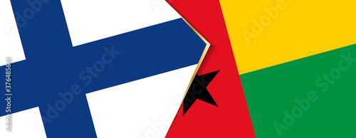 Photographie Finland and Guinea-Bissau flags, two vector flags.