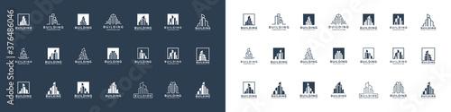 Mega collection of building architecture sets, real estate logo design symbol