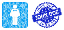 Scratched John Doe Round Watermark And Fractal Groom Icon Composition