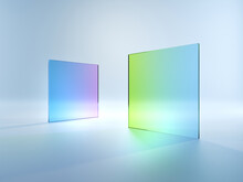3d Render, Abstract Simple Geometrical Shapes Isolated On White Background. Flat Square Glass With Blue Violet Green Gradient. Modern Minimal Concept