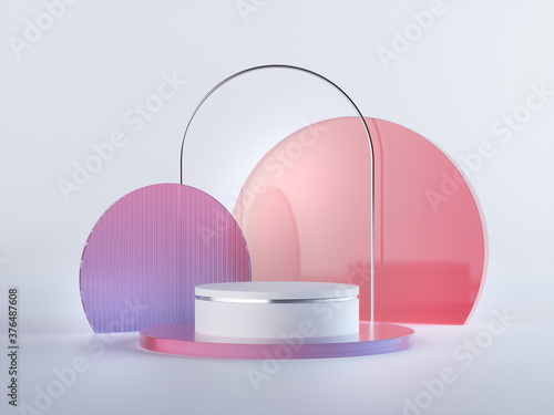 3d render, abstract geometrical background with violet red translucent round glass. Modern minimal showcase mockup. Vacant pedestal, empty podium, stage platform for commercial product displaying