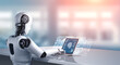 Leinwanddruck Bild - Robot humanoid use laptop and sit at table for big data analytic using AI thinking brain , artificial intelligence and machine learning process for the 4th fourth industrial revolution . 3D rendering.