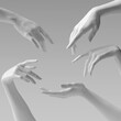 White woman 3d hands  showing, reaching from above, pointing and presenting product. Give, take and touch gestures set. 3d rendering
