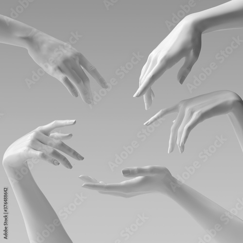 Fototapeta White woman 3d hands  showing, reaching from above, pointing and presenting product