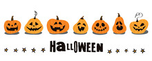 Halloween. A Set Of Funny Pumpkins For Your Design.