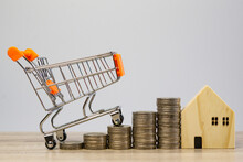 Mini Shopping Cart On Money Stack Step Growing Growth And Home On Wooden Table With White Background, Concept Finance Business Investment.