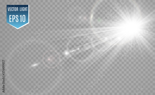 Obraz Special lens flash, light effect. The flash flashes rays and searchlight. illust.White glowing light. Beautiful star Light from the rays. The sun is backlit. Bright beautiful star. Sunlight. Glare. - fototapety do salonu