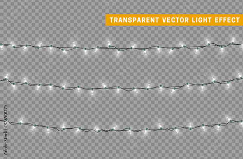 Christmas lights garlands. Festive design elements. Celebrate realistic object. Holiday Xmas Decor. New Year light effects isolated. Vector illustration.