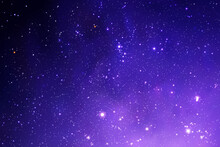 Night Starry Sky And Milky Way. Stars And Nebula. Space Background