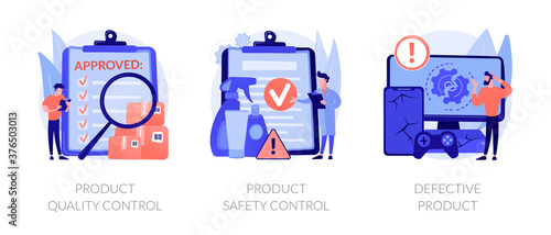 Product manufacturing abstract concept vector illustration set. Product quality and safety control, defective product testing, customer feedback, inspection, warranty certificate abstract metaphor. - 376503013