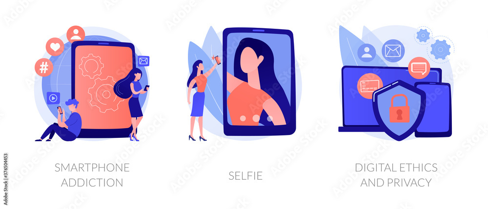 Fototapeta Digital behaviour abstract concept vector illustration set. Smartphone addiction, selfie, digital ethics and privacy, secure online data protection, social network activity, anxiety abstract metaphor.