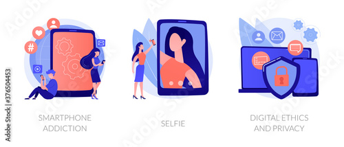 Digital behaviour abstract concept vector illustration set. Smartphone addiction, selfie, digital ethics and privacy, secure online data protection, social network activity, anxiety abstract metaphor.