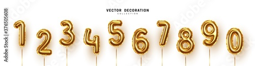 Fotografering Golden Number Balloons 0 to 9
