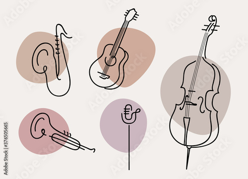 Fotografering A set of hand drawn musical instruments