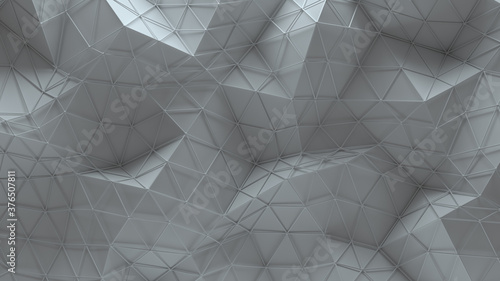 White polygonal geometric surface 3D rendering