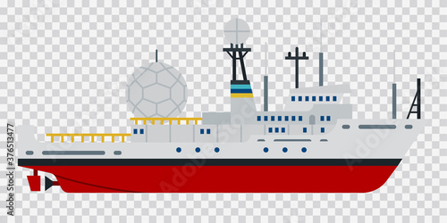 Illustration of a research vessel or expedition ship vector flat icon isolated Canvas