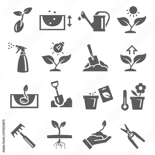 Fotografie, Obraz Gardening, plants growing bold black silhouette icons set isolated on white