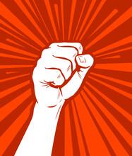 Raised Fist In Protest. Strike, Revolution Symbol