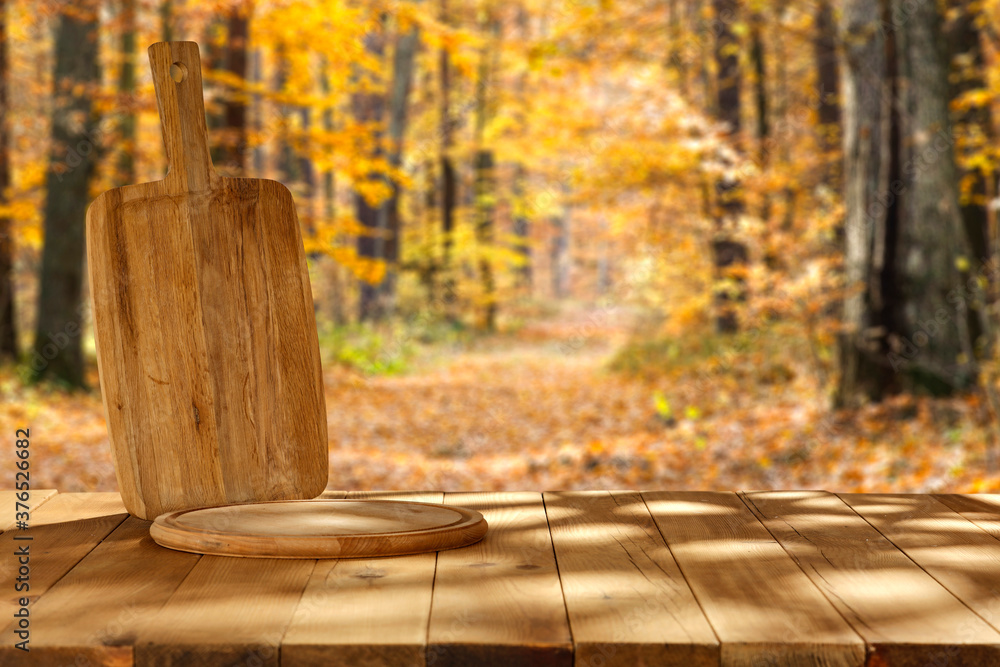 desk of free space and landscape of forest