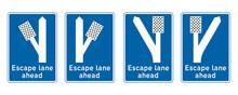 Escape Lane Ahead Road Sign Se...
