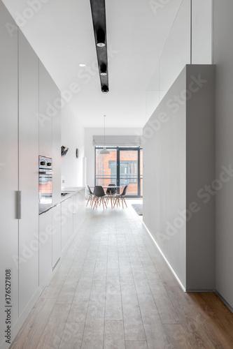 Long corridor in bright apartment Wallpaper Mural