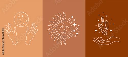Tablou Canvas Boho mystic doodle esoteric set