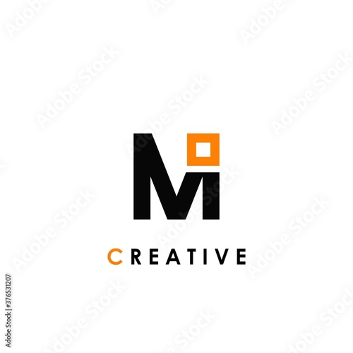 Papel de parede M letter initial with square shape logo template design for brand identity