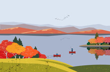 Autumn Mountains Lake Landscap...