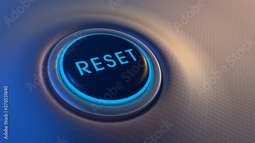 Foto Blue glowing reset button on metallic background. 3D rendering