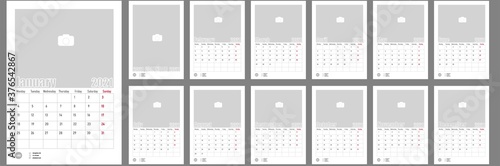 Fototapeta Wall Monthly Photo Calendar 2021. Corporate and business calendar. Simple monthly wall photo calendar Layout for 2021 in English. Cover and 12 monthes calendar templates. Monday week start.  obraz na płótnie