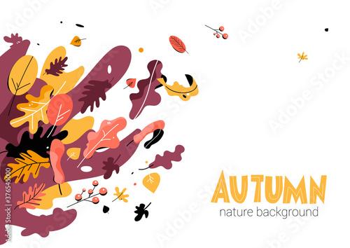 Fototapeta Autumn seasonal illustration trendy style obraz