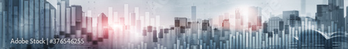 Candlestick chart with downtown Hong Kong cityscape skyscrapers Wallpaper Mural