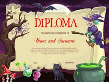 Kids Diploma With Halloween Ve...
