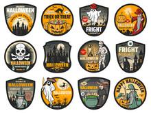 Halloween Vector Badges With P...