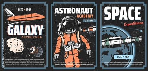 Canvas Print Galaxy adventure, astronaut academy and space expedition vector posters