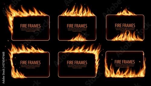 Cuadros en Lienzo Rectangular fire frames, vector burning borders