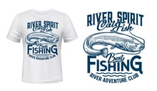 Catfish With Long Barbels T-shirt Vector Print. Freshwater Catfish Engraved Illustration And Typography. River Fishing Sport Club Clothing Custom Print Mockup, Hobby Apparel Template With Fish Mascot