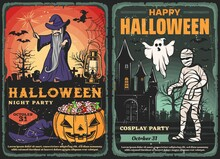 Halloween Horror Night Graveyard With Pumpkin Monster And Trick Or Treat Candies. Vector Ghost, Bats And Witch, Zombie, Mummy And Spider Net, Haunted House And Evil Wizard With Black Magic Wand