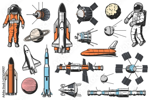 Fotografia Space and astronomy icons vector set