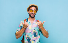Young Bearded Tourist Man Smil...