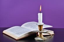 White Paraffin Candle Burning ...