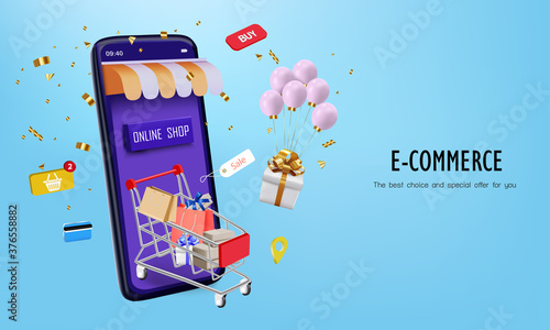 Foto Pink balloon with cart and smartphone for online shopping