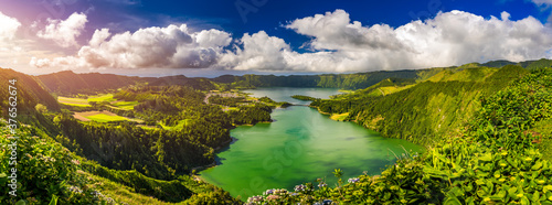 Obraz na plátně Beautiful view of Seven Cities Lake Lagoa das Sete Cidades from Vista do Rei viewpoint in São Miguel Island, Azores, Portugal
