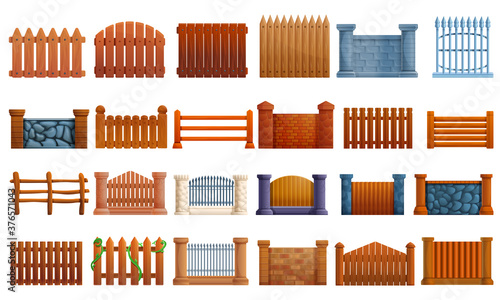 Obraz na plátně Fence icons set, cartoon style